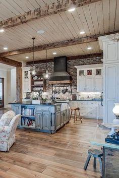 Farmhouse Style Kitchen, Rustic Kitchen, Country Kitchen, Country Farmhouse, Farmhouse Decor, Kitchen Ideas, Dream House Plans, My Dream Home, Küchen Design