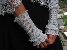 Cuffs  The Silver Swan Victorian Lace  made by Dom by domklary, $30.00