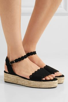 Platform sole measures approximately 40mm/ 1.5 inches Black suede Buckle-fastening ankle strap Imported