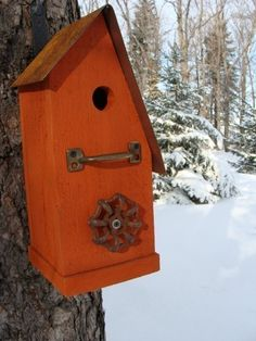 Rustic Tangerine Birdhouse Recycled Faucet by baconsquarefarm, $45.00