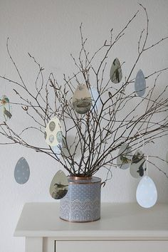 Easter egg ornaments made from wrapping paper    |   Photo:  Herz Allerliebst via Flickr
