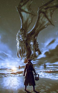 The Call of Cthulhu by ömer Tunç : ImaginaryLeviathans Art Cthulhu, Cthulhu Tattoo, Call Of Cthulhu Rpg, Necronomicon Lovecraft, Lovecraft Cthulhu, Hp Lovecraft, Dark Fantasy Art, Sci Fi Fantasy, Arte Horror