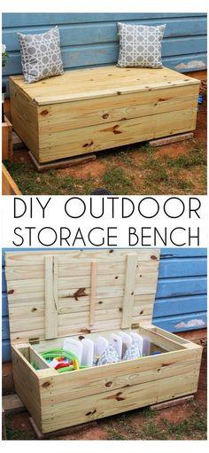 Diy Outdoor Toys, Outdoor Toy Storage, Outdoor Toys For Kids, Diy Toy Storage, Pallet Storage, Outdoor Box, Outdoor Chairs, Diy Outdoor Wood Projects, Outdoor Pallet