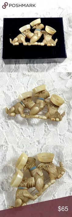 """Vintage Rare 1930s Celluloid Scottie Dogs Brooch Amazing scotties with sailor hats, light brown enamel dogs, blue enamel collars, cream enamel sailor hats, some wear with a small discolored spot on inside sailor hat, signed on back """"MADE IN JAPAN"""". MADE IN JAPAN Jewelry Brooches"""
