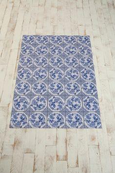 Trompe L'Oeil Floor Mat - Delft Wreath Blue