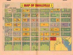 Fictional map of DC Comics Smallville, from silver or bronze age Superboy book (?) Smallville is shown close to Metropolis and Gotham City.