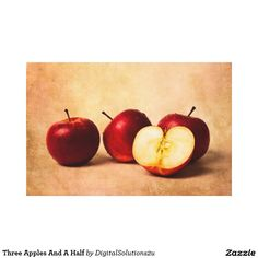 Three Apples And A Half Canvas Print