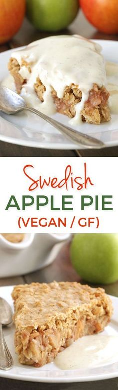 This Swedish apple pie is similar to a crisp and is gluten-free, vegan, dairy-free and whole grain! Dessert Sans Gluten, Gluten Free Sweets, Gluten Free Cakes, Paleo Dessert, Gluten Free Baking, Dairy Free Recipes, Vegan Desserts, Just Desserts, Delicious Desserts
