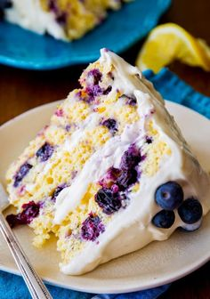 The Best Healthy Recipes: Lemon Blueberry Layer Cake. Sunshine-sweet lemon layer cake dotted with juicy blueberries and topped with lush cream cheese frosting. Take a bite and taste the bursts of bright flavors!