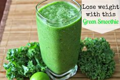 Lose weight with this Green Smoothie. Spinach, Kale, Pineapple, Apple, Banana, Cucumber, Celery, Lime juice, chia seeds.