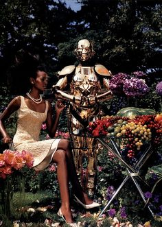 US Vogue September 2003 Photographed by Steven Klein Styled by Grace Coddington Model: Liya Kebede Afro, Editorial Photography, Fashion Photography, Female Cyborg, Liya Kebede, Fashion Magazine Cover, Steven Meisel, Beauty Shoot, Live Fashion