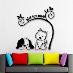 ZN E241 Cute Animal Welcome Dog cat Mural Pet shop Spa Grooming Salon Veterinary wall decal Wall Stickers Vinyl Art Home decor