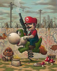 Fresh out of the dungeons and back on the streets of Mushroom Kingdom, Mario is taking back his territory one shotgun shell at a time. Mario 13 by Bob Dob Arte Lowbrow, Art Diy, Art Et Illustration, Art Illustrations, Pop Surrealism, Video Game Art, Fantasy Art, Art Drawings, Graffiti Drawing