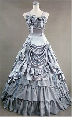 Silver Gothic Victorian Ball Gown Punk Satin Lolita Dress Stage Costume