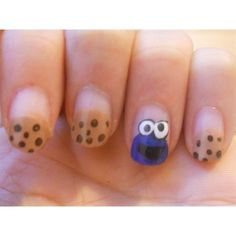 Cookie Monster inspired by cutepolish Nail Art Gallery ❤ liked on Polyvore featuring nails