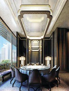 Four Seasons Hotel Pudong, Shanghai. #memoir #golddecor #glam #diningroom #hotel #shanghai