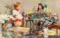 AK-Postkarte-Puppenkarte-Blumenladen-Blumen-Geschaeft-DDR-Spielzeug-Kaethe-Kruse