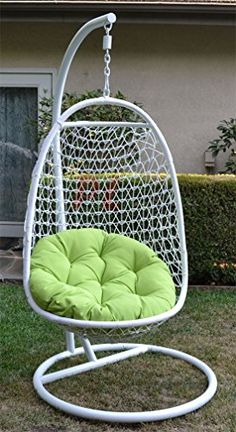 Wicker Rattan Swing Bed Chair Weaved Egg Shape Hanging Hammock  White/Lime  Generic Http
