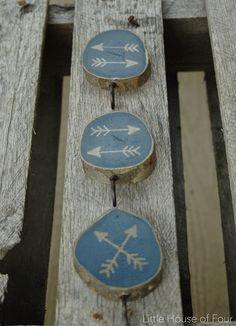 Little House of Four: November DIY Challenge: Painted Wood Slice Hooks