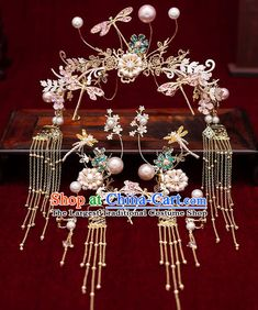 Chinese Traditional Bride Tassel Dragonfly Hair Clasp Handmade Hairpins Wedding Hair Accessories Complete Set for Women