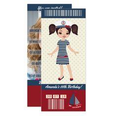 Birthday Cruise Boarding Pass Ticket add photo Card