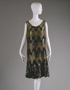 """Evening dress, ca. 1926–27  Attributed to Gabrielle """"Coco"""" Chanel (French, 1883–1971)  Silk, metallic threads, sequins"""