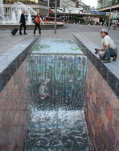 Julian Beever is considered a leading chalk artist in sidewalk art. He's also called Pavement Picasso.