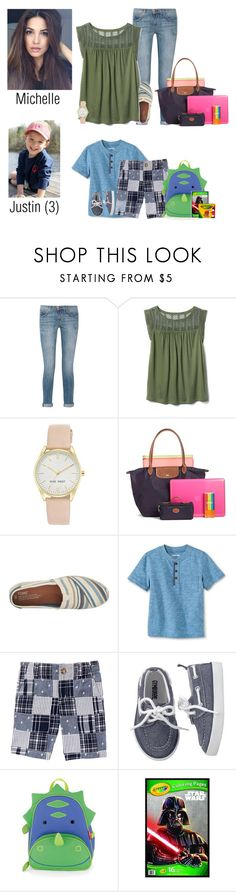 """""""5.1.17 // Work and School at Preschool"""" by my-polyvore-family1 ❤ liked on Polyvore featuring Current/Elliott, Gap, Nine West, Longchamp, TOMS, Skip Hop and TheSwansonFamily"""