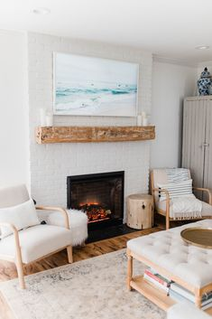 Home Tour: Living Room - Lauren McBride Casual Living Rooms, Living Room Sets, Living Room Designs, Living Spaces, Small Living, Modern Living, Dyi, Fireplace Redo, Fireplace Makeovers