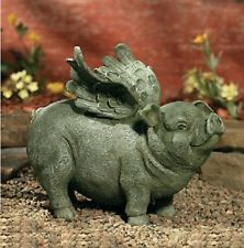 Unique Flying Pig Garden Statue with Weathered Stone Finish ~NEW~