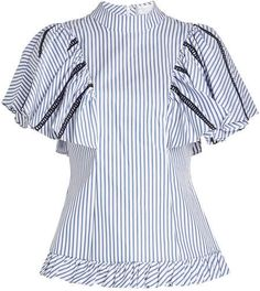 9b522c81dc5 Caroline Constas - Striped Cotton Blouse with Ladder Trims