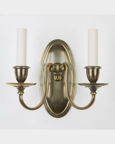 Circa pair of oval-backed age darkened brass double light sconces with S-curving arms that flare under the waxpans and candle cups. Brass Sconce, Candle Sconces, Wall Sconces, Candle Cups, Sconce Lighting, Light Decorations, Wall Lights, Bronze, House Design