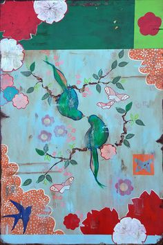 "Kathe Fraga paintings, ""The Flirtation"", inspired by the romance of vintage Parisian wallpapers and Chinoiserie Ancienne. 24x36 on aged frescoed panel. www.kathefraga.com"