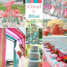 Coral and Blue Wedding Colors - Coral and blue (usually turquoise) is a luscious choice for a summer or beach wedding. The coral can be dark, almost red, or a lighter, almost pink, shade.
