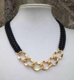 Matte Black and Gold Chain Statement Necklace on Etsy, $32.00 Rope Jewelry, Jewlery, Unique Jewelry, Matte Gold, Matte Black, Diy Necklace, Gold Chains, Bracelets, Beading