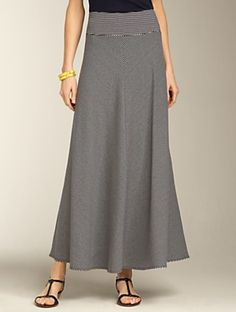 Long striped skirt, perfect with my black patent flats with the gold elephant medallion from Talbots Modest Skirts, Cute Skirts, Modest Outfits, Skirt Outfits, Modest Fashion, Stylish Outfits, Fashion Dresses, Dress Skirt, Middle Age Fashion
