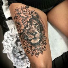 amonischarnagltattoo monischarnagltattoo tattoogirlbody tattoogirlcute inspiration tattoos credit tattoo inked ink ins Credit monischarnagltattoo tattoo âCredit monischarnagltattoo âtattoo â â You can find inspiration and more on our website Hip Thigh Tattoos, Girl Leg Tattoos, Sleeve Tattoos For Women, Body Art Tattoos, Lion Thigh Tattoo, Tattoo Ink, Lion Tattoo On Back, Women Thigh Tattoos, Animal Thigh Tattoo