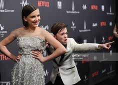 Actress Millie Bobby Brown and actor Noah Schnapp attend the 2017 Weinstein Company and Netflix Golden Globes after party on January 8, 2017 in Los Angeles, California.