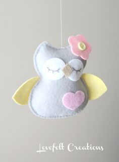 Baby Mobile Owl mobile Birds Mobile Pottery by LoveFeltXoXo, $155.00