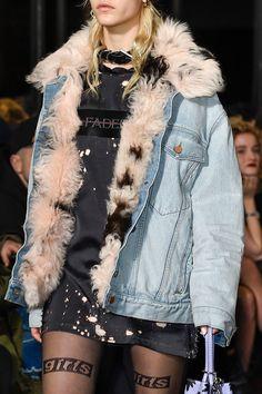 Fur-lined denim jacket at the Alexander Wang runway show 2016.