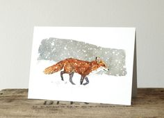 Fox in Snow Christmas Card Set, Winter watercolor greeting cards Watercolor Fox, Watercolor Cards, Watercolor Paintings, Watercolors, Illustration Noel, Watercolor Illustration, Illustrations, Christmas Note, Christmas Colors