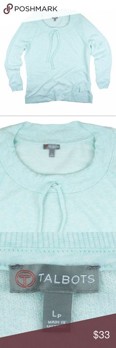 """New TALBOTS Heather Aqua Crossfront Hem Sweatshirt NWOT. This new light Heather aqua sweatshirt from TALBOTS features a cross front hemline and drawstring at neckline. Lightweight. Made of a cotton blend. Measures: bust: 41"""", total length: 27"""", sleeves: 23"""" Talbots Tops Sweatshirts & Hoodies"""
