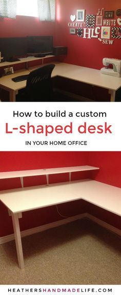 Build a custom L-shaped desk for your home office {Heather's Handmade Life}