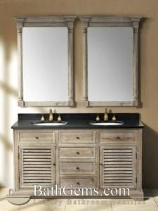 """59.25"""" Paliano Double Sink Vanity - Driftwood -- interesting finish on the wood (don't like the black counter and gold fixtures)"""