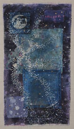 River of the sky. Textile art. 2017 The Milky Way has been a source of fascination since the beginning of mankind. Many cultures have described its features in poetic terms as a river in the sky which is the title of this piece. My work is influenced by my love of the Cosmos and