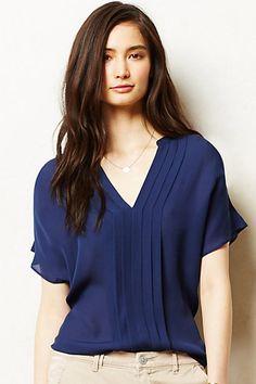 Pintucked Silk Top