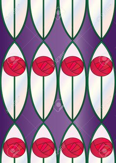 A Seamless Tile With A Repeat Sytlised Rose Design, Inspired ...