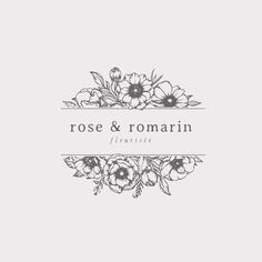 beautiful illustrated logo with a feminine, yet rustic touch. botanical logo design, floral logo and branding. Floral Banners, Floral Logo, Floral Letters, Sketch Restaurant, Logo Restaurant, Floral Illustrations, Botanical Illustration, Flower Typography, Hand Logo