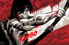 """Grey Matter Art will be releasing a new official print by artist Anthony Petrie for the Sly Stallone action flick """"Rambo First Blood: Part II"""" as a new edition to their ongoing officially licensed Rambo print series. 80s Movie Posters, Movie Poster Art, Joint Venture, Bacardi, Screen Print Poster, Poster Prints, Print Ads, Rambo Series, Classic 80s Movies"""