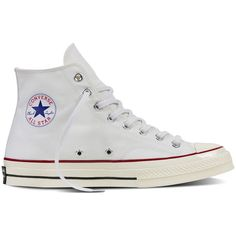Converse Chuck Taylor All Star ˜70 – white Sneakers ($85) ❤ liked on Polyvore featuring shoes, sneakers, white, star sneakers, converse trainers, white rubber shoes, converse sneakers and converse shoes